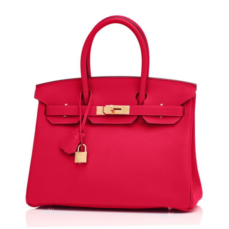 Women's Hermes Birkin 30cm Rouge Casaque Togo Birkin Bag Red Gold Y Stamp, 2020  For Sale