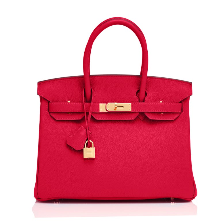 Hermes Birkin 30cm Rouge Casaque Togo Birkin Bag Red Gold Y Stamp, 2020  For Sale 2