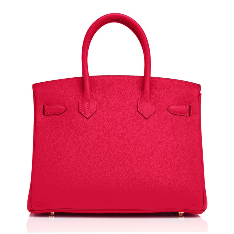 Hermes Birkin 30cm Rouge Casaque Togo Birkin Bag Red Gold Y Stamp, 2020  For Sale 3