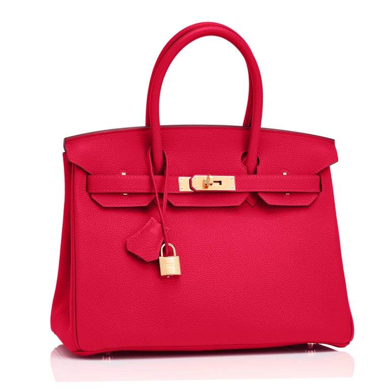 Hermes Birkin 30cm Rouge Casaque Togo Birkin Bag Red Gold Y Stamp, 2020  For Sale 4