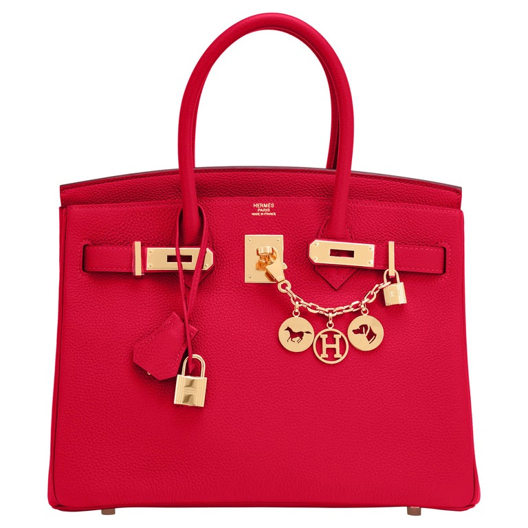 Hermes Birkin 30cm Rouge Casaque Togo Birkin Bag Red Gold Y Stamp, 2020  For Sale
