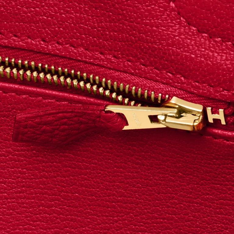 Hermes Birkin 30cm Rouge Vif Lipstick Red Togo Gold Hardware Y Stamp, 2020 For Sale 7