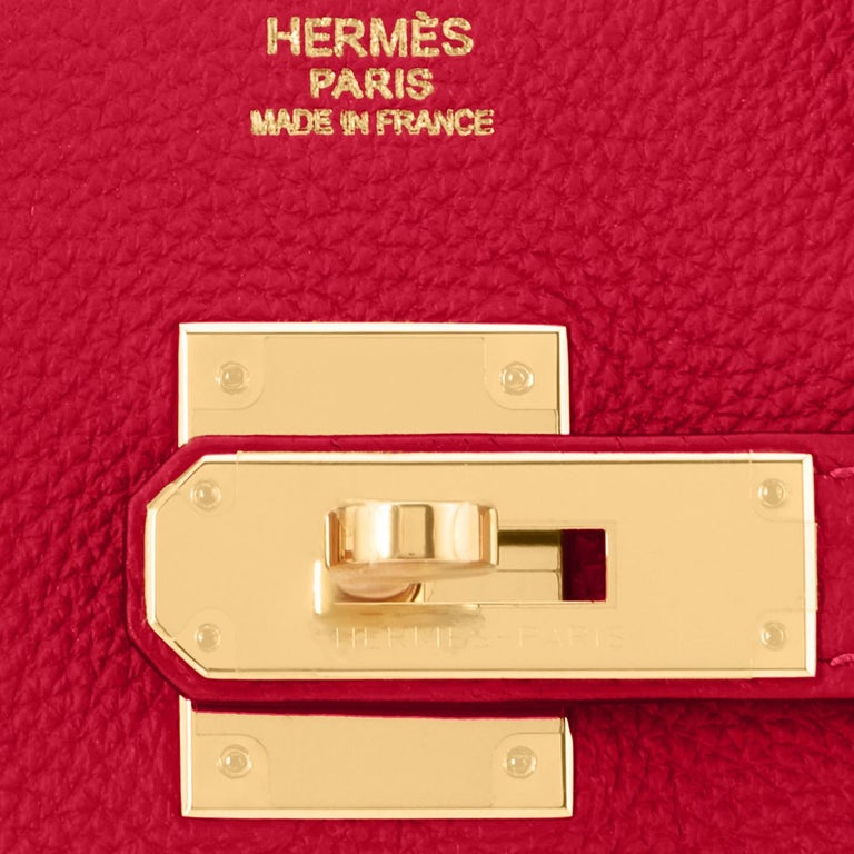 Hermes Birkin 30cm Rouge Vif Lipstick Red Togo Gold Hardware Y Stamp, 2020 For Sale 8