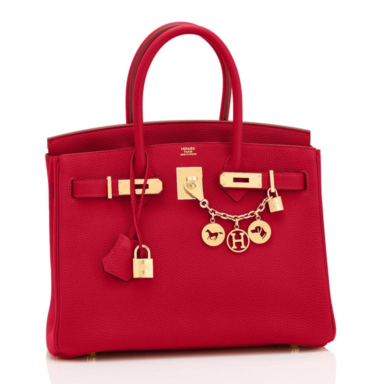 Hermes Rouge Vif Lipstick Red 30cm Birkin Gold Hardware Y Stamp, 2020 Just purchased from Hermes store! Bag bears new interior 2020 Y Stamp. Brand New in Box.  Store Fresh.  Pristine Condition (with plastic on hardware). Perfect gift! Coming with