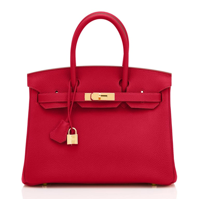 Hermes Birkin 30cm Rouge Vif Lipstick Red Togo Gold Hardware Y Stamp, 2020 In New Condition For Sale In New York, NY