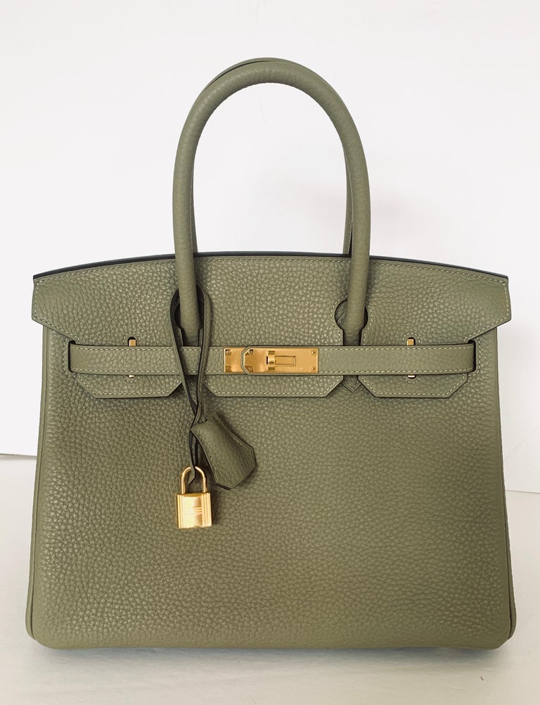 Hermes Birkn 30cm Color is Sage A lovely muted neutral Gold Hardware Such a pretty color that is unavailable anymore from Hermes Collection X Leather Taurillon Clemence Length 30cm Tall 21cm/8.5