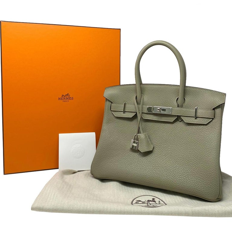 Hermes Birkin 30cm Sauge Clemence Leather Handbag 2016 COMES WITH RECEIPT, DUST  For Sale 7