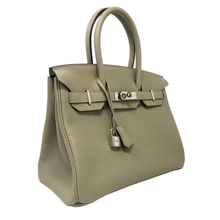 Company-Hermes Model-Birkin 30cm                 Color-Sauge Date Code-XIS081 FM- 2016 Material-Clemence Leather Measurements-12