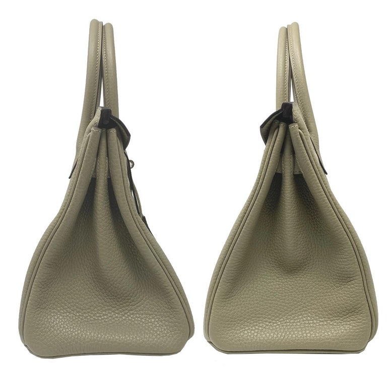 Brown Hermes Birkin 30cm Sauge Clemence Leather Handbag 2016 COMES WITH RECEIPT, DUST  For Sale