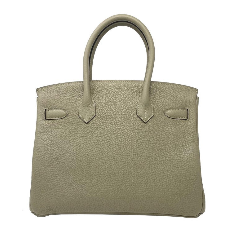 Hermes Birkin 30cm Sauge Clemence Leather Handbag 2016 COMES WITH RECEIPT, DUST  In Excellent Condition For Sale In Boca Raton, FL
