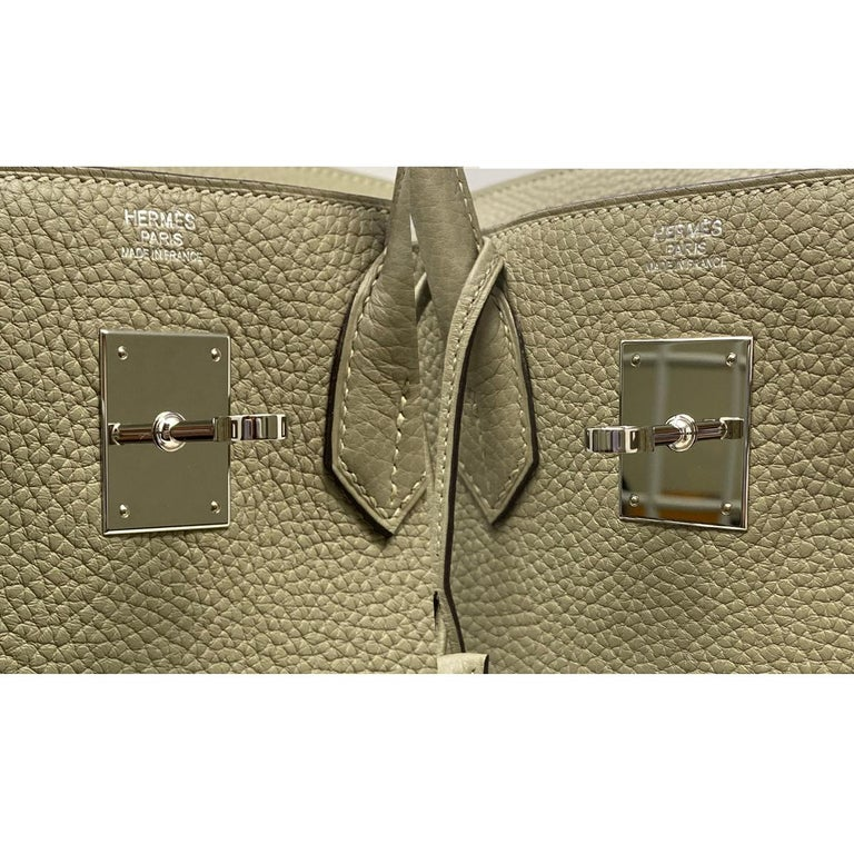 Hermes Birkin 30cm Sauge Clemence Leather Handbag 2016 COMES WITH RECEIPT, DUST  For Sale 4