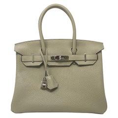 Hermes Birkin 30cm Sauge Clemence Leather Handbag 2016 COMES WITH RECEIPT, DUST
