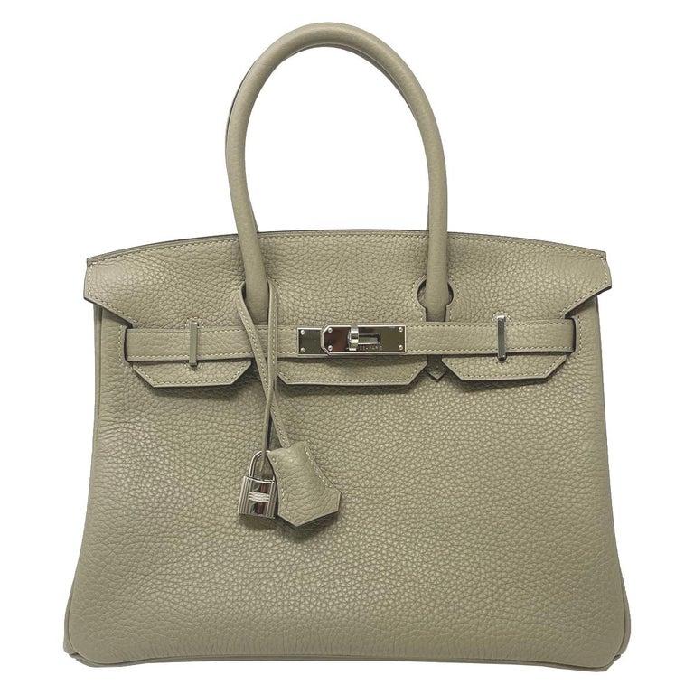 Hermes Birkin 30cm Sauge Clemence Leather Handbag 2016 COMES WITH RECEIPT, DUST  For Sale