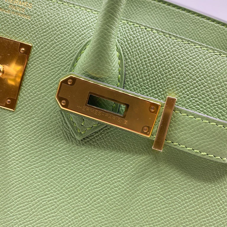 Brand: Hermès  Style: Birkin Sellier Size: 30cm Color: Vert Criquet Leather: Epsom Hardware: Gold  Condition: Pristine, never carried: The item has never been carried and is in pristine condition complete with all accessories.  Accompanied by: