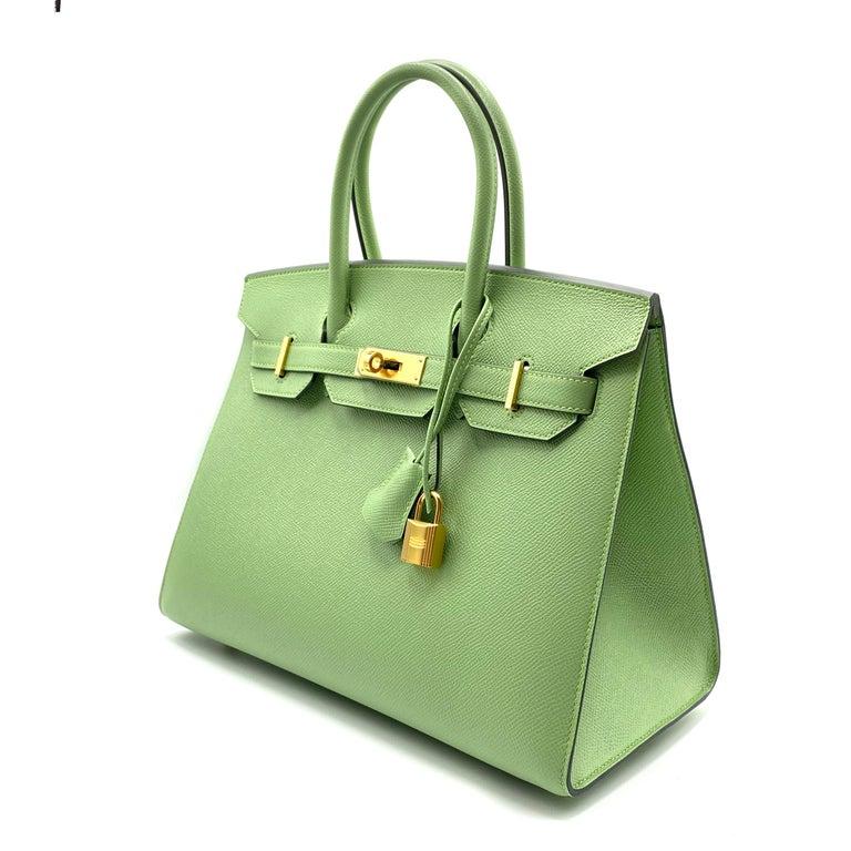 Hermès Birkin 30cm Sellier Vert Criquet Epsom Leather Gold Hardware For Sale 1