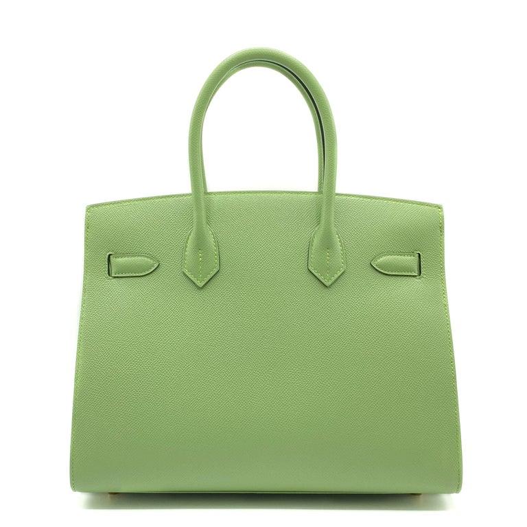 Hermès Birkin 30cm Sellier Vert Criquet Epsom Leather Gold Hardware For Sale 2
