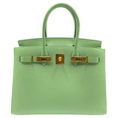 Hermès Birkin 30cm Sellier Vert Criquet Epsom Leather Gold Hardware