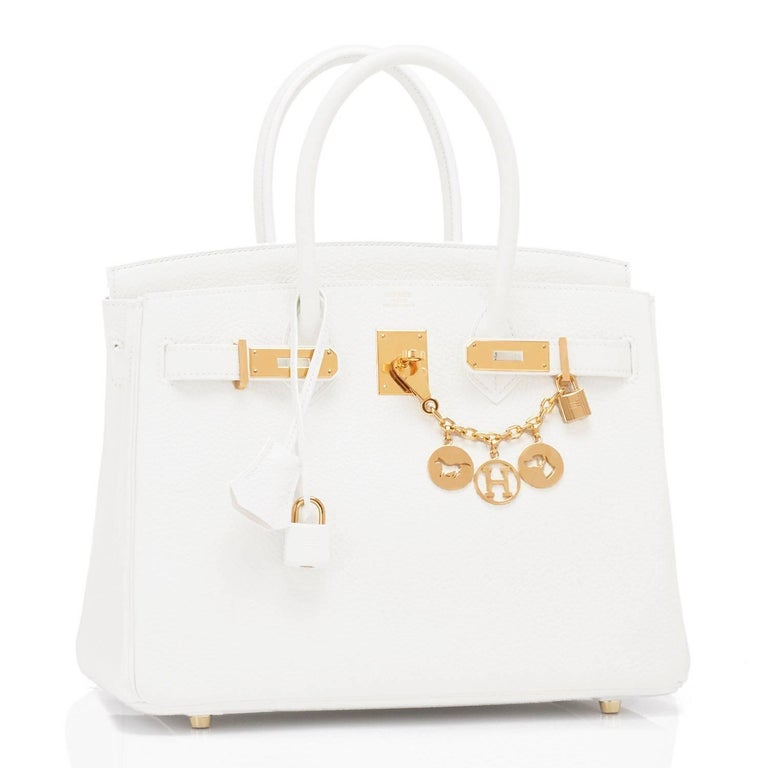 Hermes White Birkin Birkin 30cm Bag Gold Hardware Extremely rare find in Brand New in Box condition.   Do not miss this rare find as white Birkins have been discontinued from Hermes production for several years. Brand New in Box.  Store fresh.