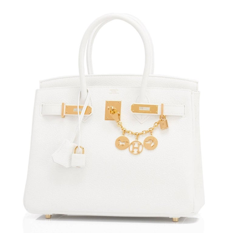 Hermes Birkin 30cm White Clemence Gold Hardware X Stamp In New Condition For Sale In New York, NY