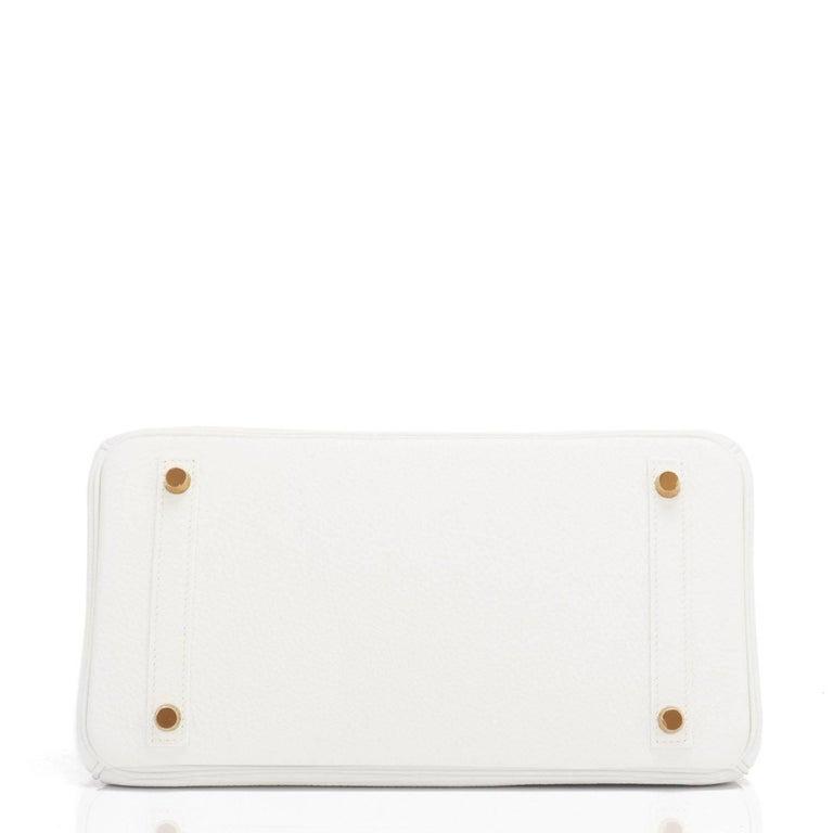 Hermes Birkin 30cm White Clemence Gold Hardware X Stamp For Sale 3