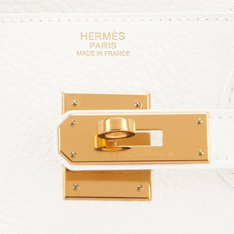 Hermes Birkin 30cm White Clemence Gold Hardware X Stamp For Sale 4
