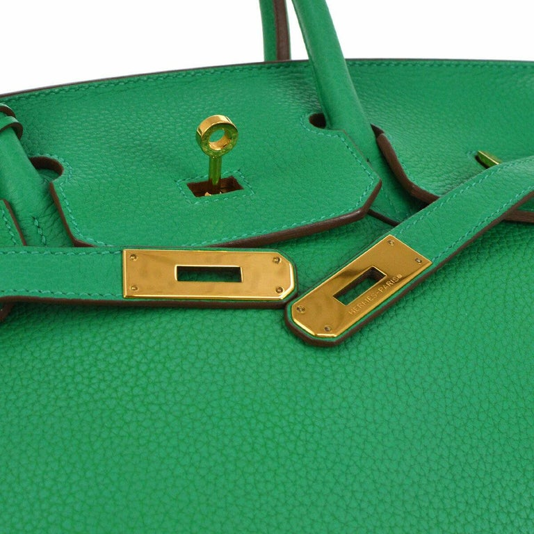 Hermes Birkin 35 Apple Green Leather Gold Carryall Travel Top Handle Satchel Tote  Leather Gold tone hardware Leather lining Date code present Made in France Handle drop 4.25