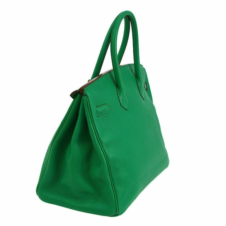 Women's Hermes Birkin 35 Apple Green Leather Gold Carryall Top Handle Satchel Tote For Sale