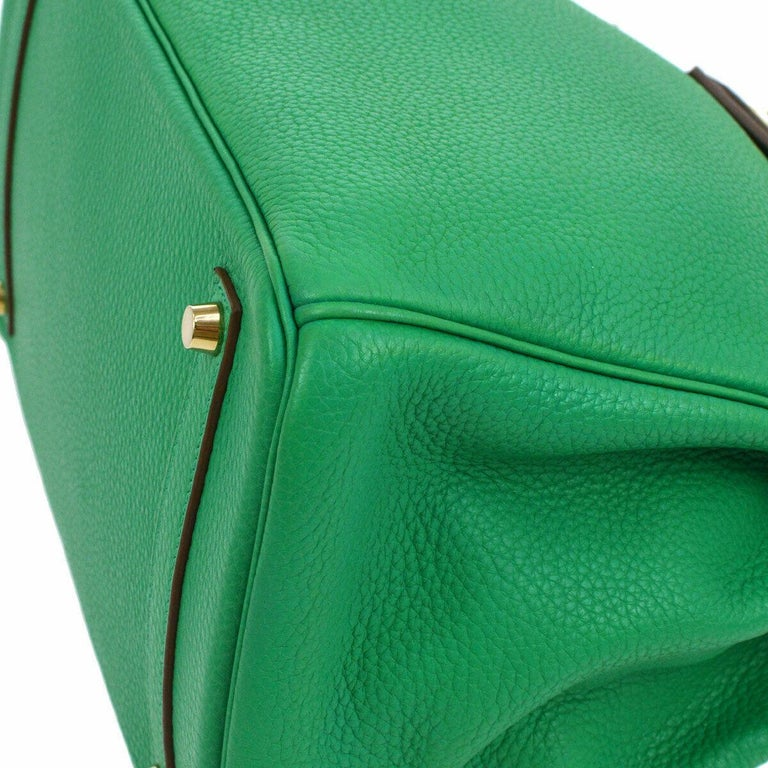 Hermes Birkin 35 Apple Green Leather Gold Carryall Top Handle Satchel Tote For Sale 2