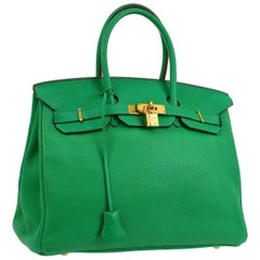 Hermes Birkin 35 Apple Green Leather Gold Carryall Top Handle Satchel Tote