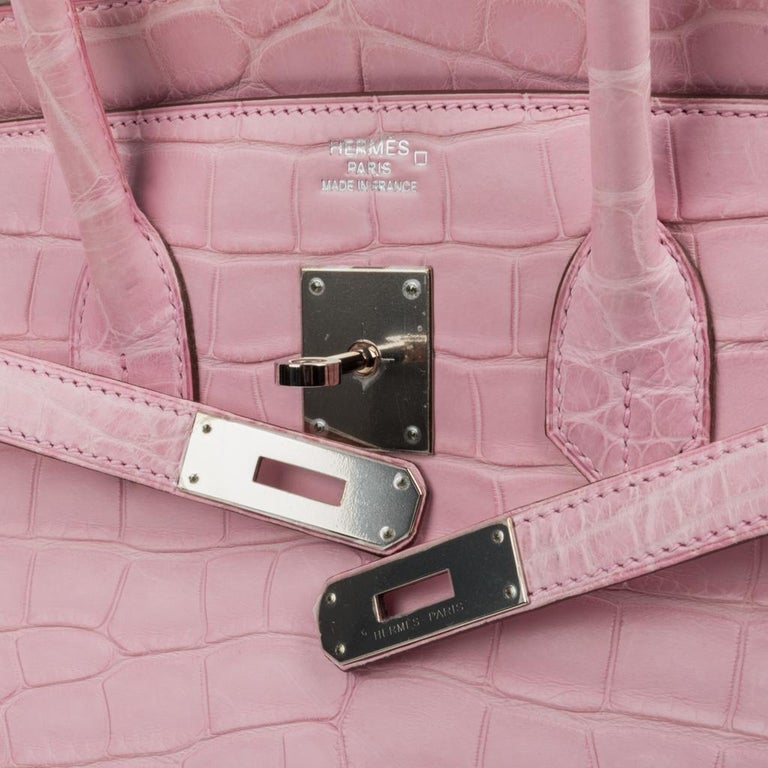 Beige Hermes Birkin 35 Bag 5P Bubblegum Pink Matte Alligator Palladium Rare For Sale