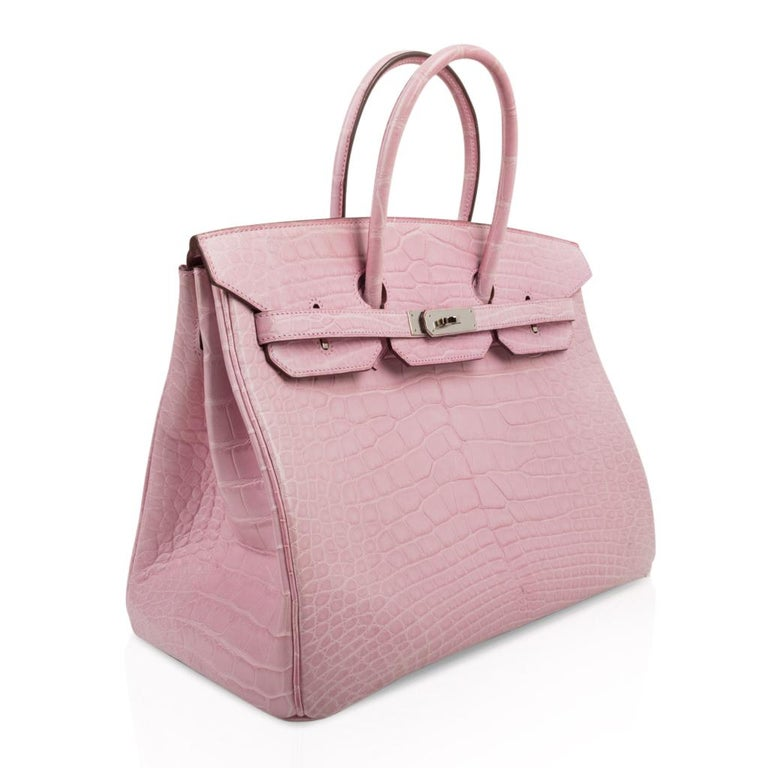 Hermes Birkin 35 Bag 5P Bubblegum Pink Matte Alligator Palladium Rare In Good Condition For Sale In Miami, FL