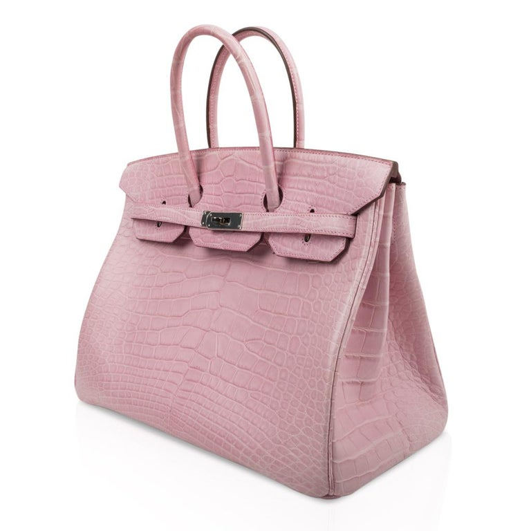 Hermes Birkin 35 Bag 5P Bubblegum Pink Matte Alligator Palladium Rare For Sale 1