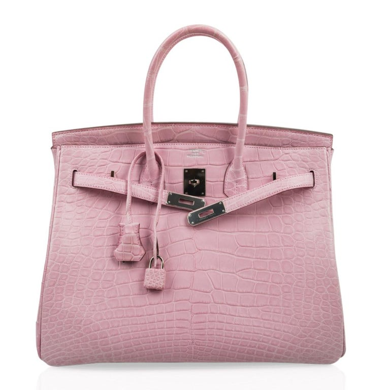 Hermes Birkin 35 Bag 5P Bubblegum Pink Matte Alligator Palladium Rare For Sale 2