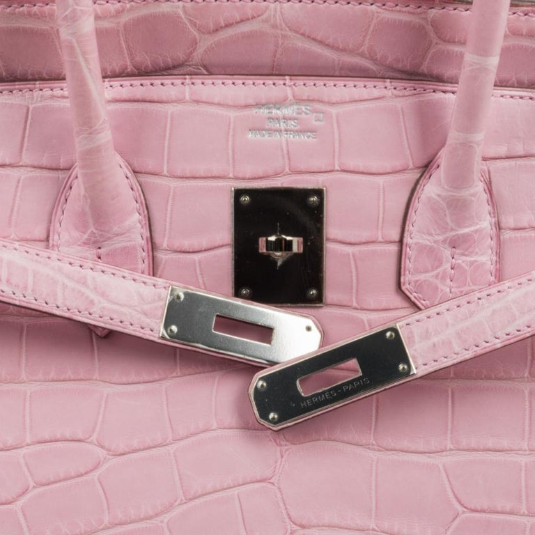 Hermes Birkin 35 Bag 5P Bubblegum Pink Matte Alligator Palladium Rare For Sale 3