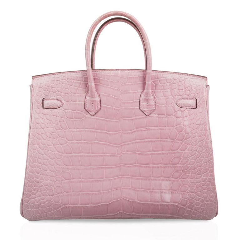 Hermes Birkin 35 Bag 5P Bubblegum Pink Matte Alligator Palladium Rare For Sale 4
