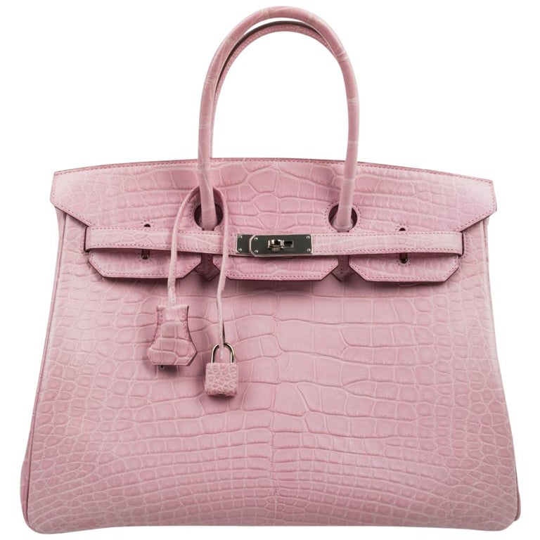 Hermes Birkin 35 Bag 5P Bubblegum Pink Matte Alligator Palladium Rare For Sale