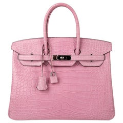 Hermes Birkin 35 Bag 5P Bubblegum Pink Matte Alligator Palladium Rare