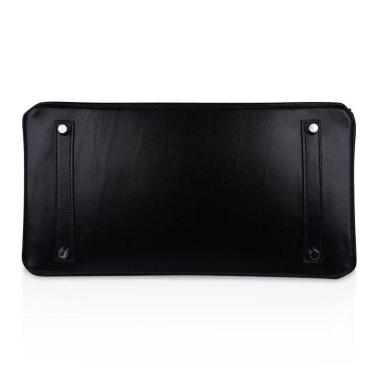 Hermes Birkin 35 Bag Black Box Palladium Guilloche Hardware For Sale 7