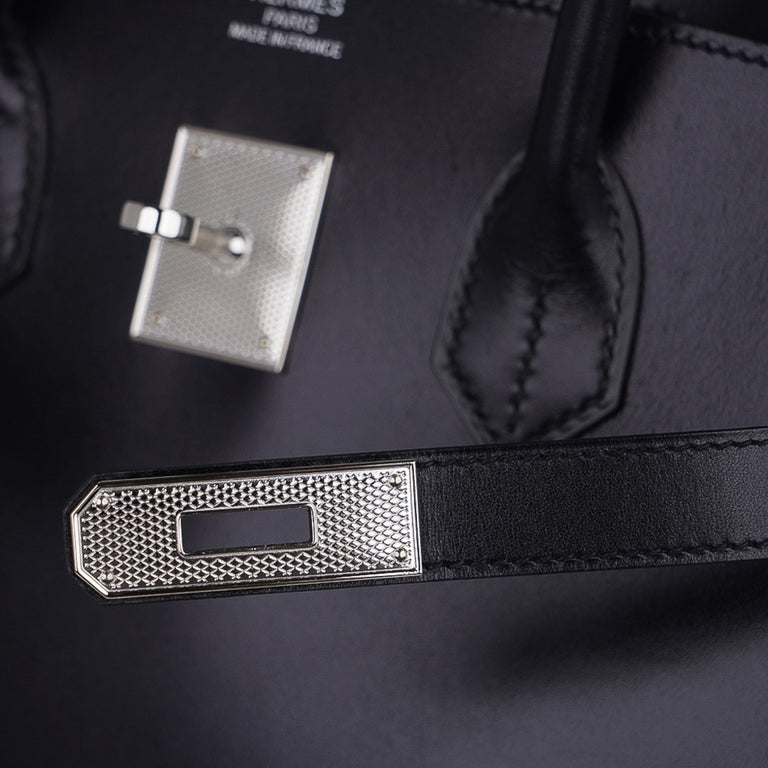 Women's Hermes Birkin 35 Bag Black Box Palladium Guilloche Hardware For Sale