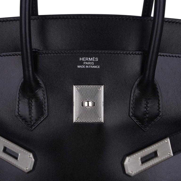Hermes Birkin 35 Bag Black Box Palladium Guilloche Hardware For Sale 1
