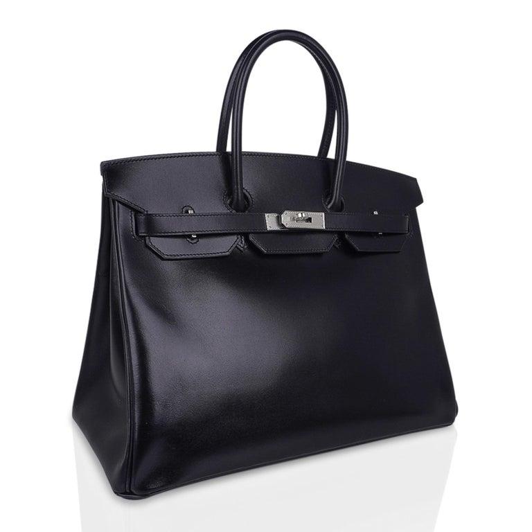 Hermes Birkin 35 Bag Black Box Palladium Guilloche Hardware For Sale 2