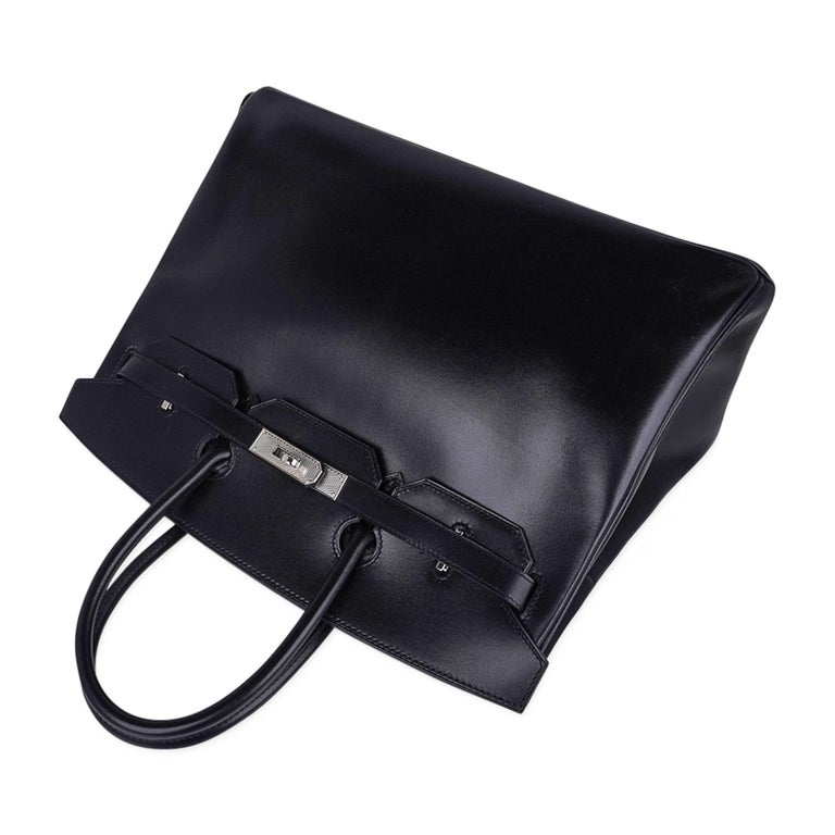 Hermes Birkin 35 Bag Black Box Palladium Guilloche Hardware For Sale 3