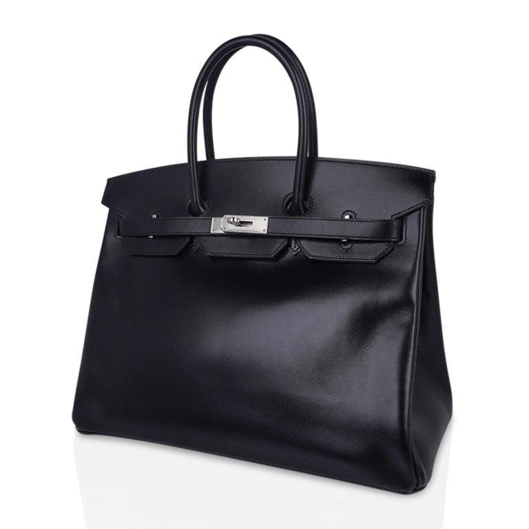 Hermes Birkin 35 Bag Black Box Palladium Guilloche Hardware For Sale 4