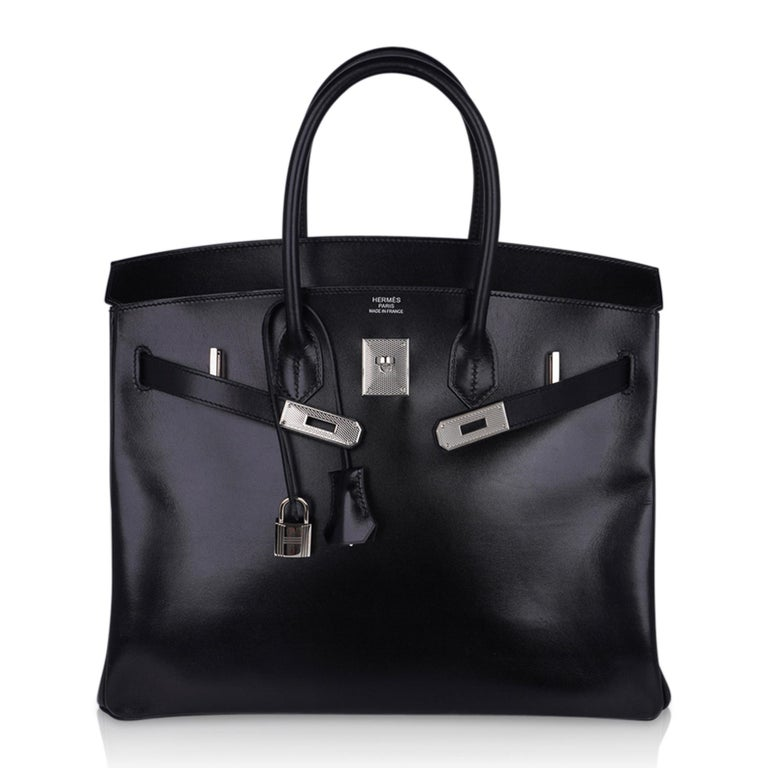 Hermes Birkin 35 Bag Black Box Palladium Guilloche Hardware For Sale 5
