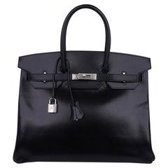 Hermes Birkin 35 Bag Black Box Palladium Guilloche Hardware
