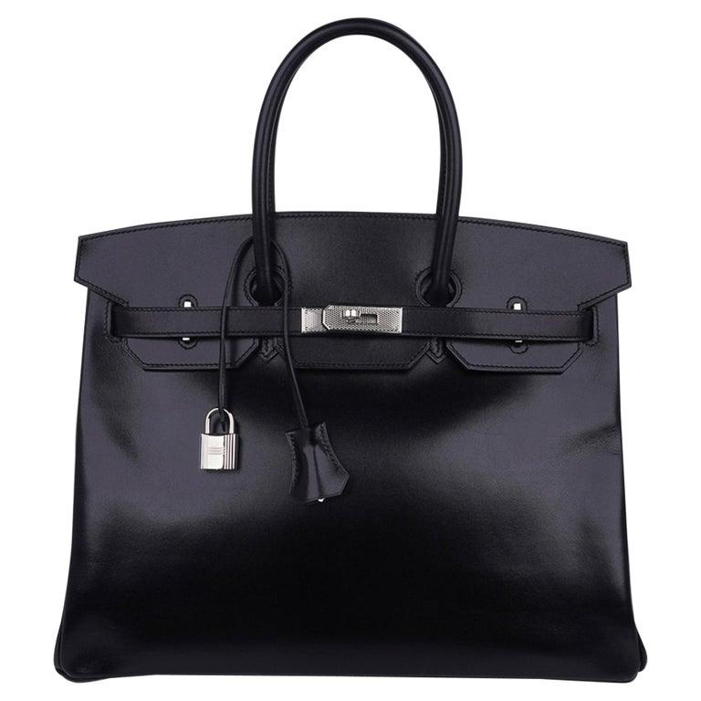 Hermes Birkin 35 Bag Black Box Palladium Guilloche Hardware For Sale