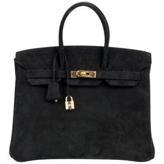 Hermes Birkin 35 Bag Black Doblis Suede Gold Hardware Limited Edition