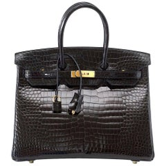 Hermes Birkin 35 Bag Black Porosus Crocodile Gold Hardware