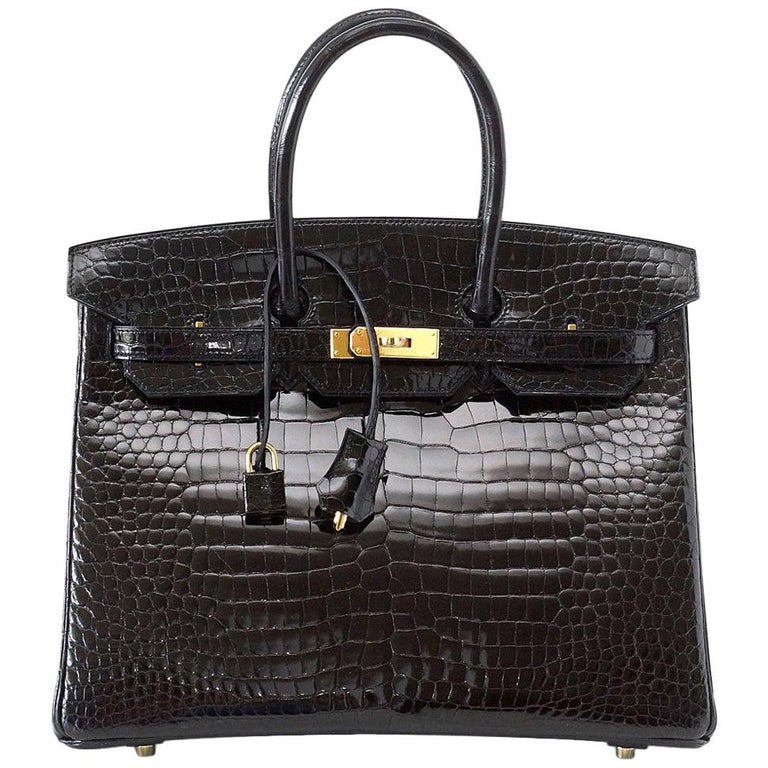 Hermes Birkin 35 Bag Black Porosus Crocodile Gold Hardware  For Sale