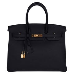 Hermes Birkin 35 Bag Black Togo Gold Hardware Ultimate Classic